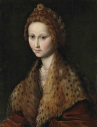 Portrait of a lady, half-length, in a red coat with a leopard-fur mantle, pearls and jewels in her hair