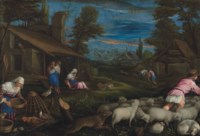 A shepherd with his flock and a woman feeding poultry in a village, with other figures resting by a cottage
