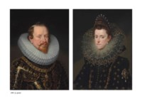 Portrait of Vincenzo Gonzaga, Duke of Mantua (1562-1612), half-length, in ceremonial armour and ruff, wearing the Order of the Golden Fleece; and Portrait of Eleanor de' Medici, Duchess of Mantua (1567-1611), half-length, in a richly embroidered black dress embellished with diamonds, a lace ruff and pearl headdress