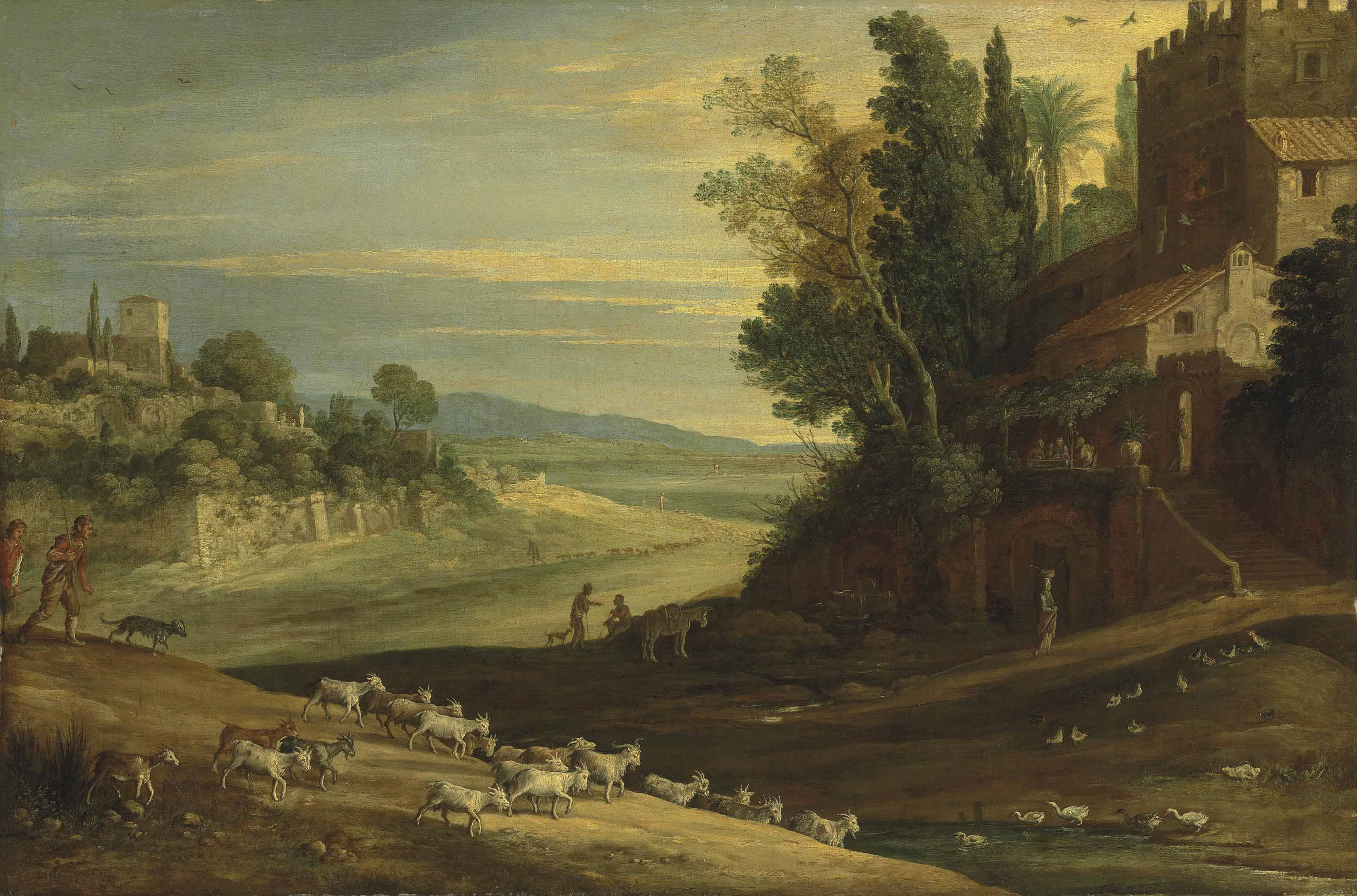 An extensive Italianate landscape with shepherds watering their flocks by a stream, with Jesus and two Disciples at Emmaus