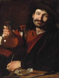 A man holding a wine flask and a pipe