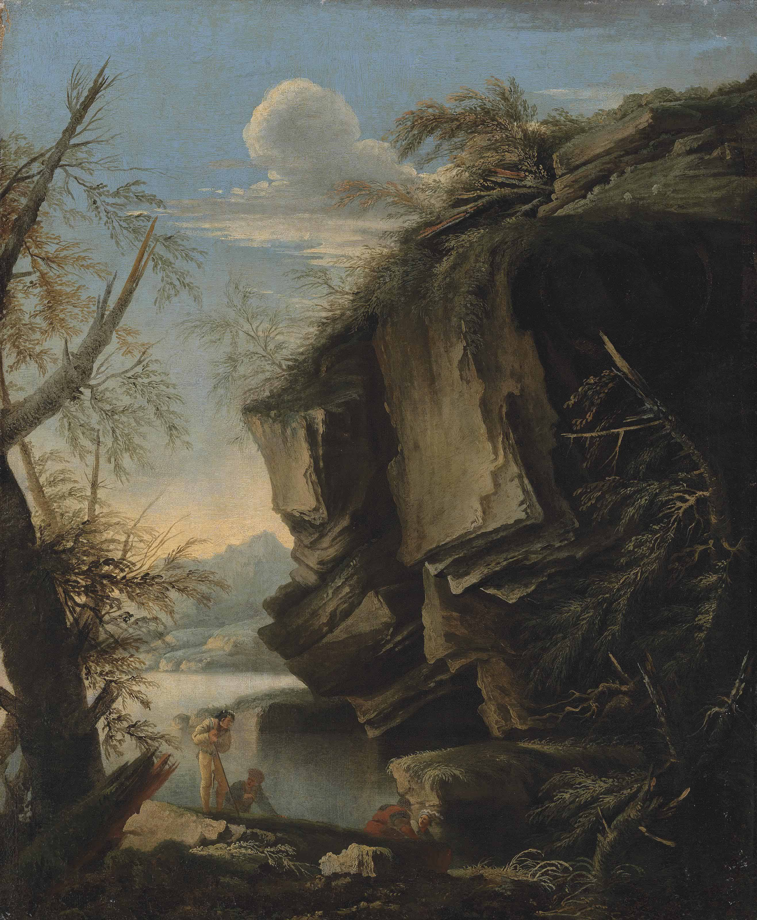 A rocky landscape with figures resting at the edge of a lake