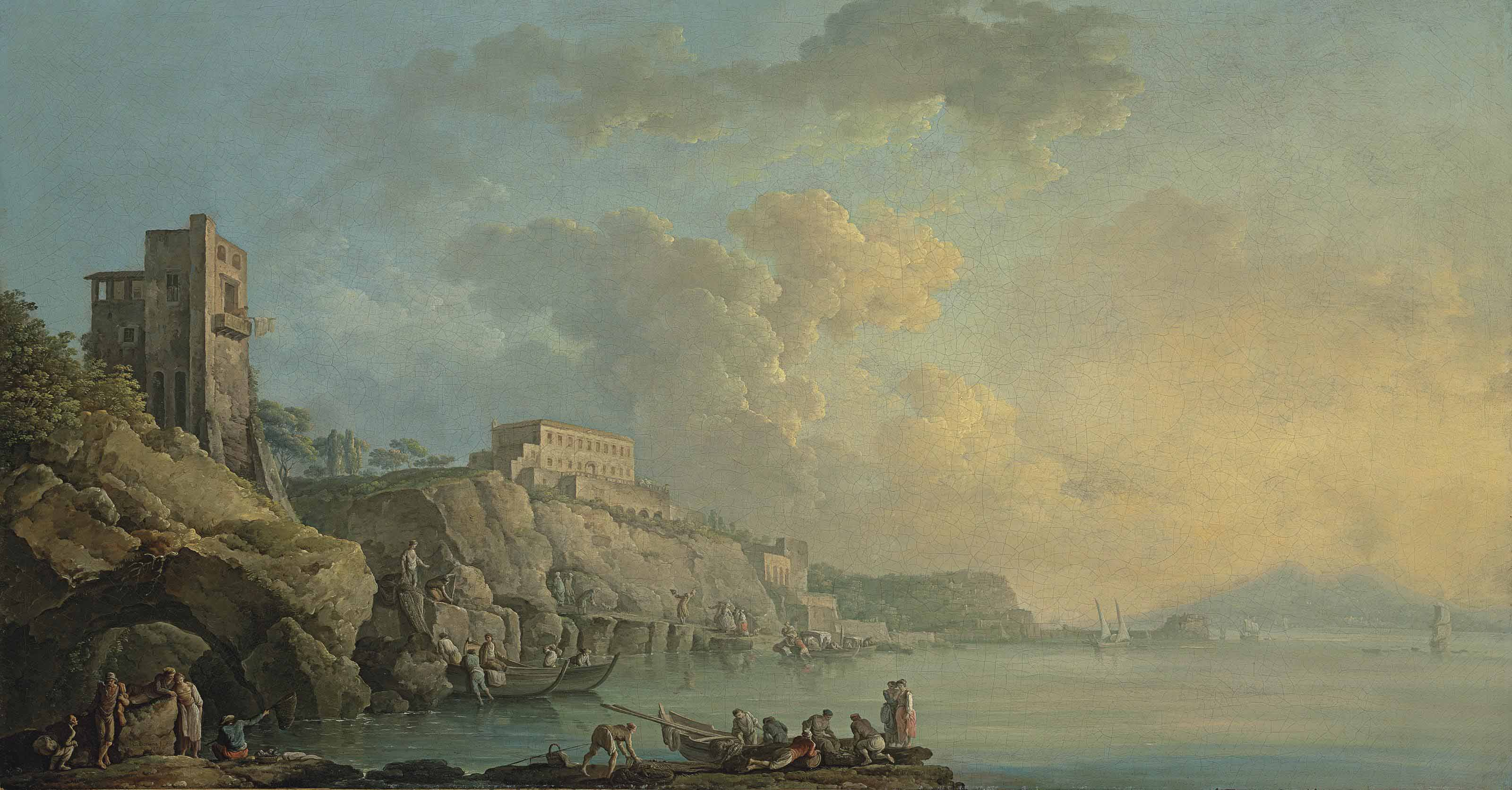 A view of the coast of Posillipo and the bay of Naples, with fishermen and other figures in the foreground, Mount Vesuvius in the distance