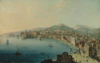 A view of the Bay of Naples, with figures on the Riviera di Chiaia