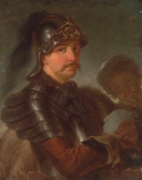 Portrait of a man, half-length, in armour, wearing a helmet and a fur cape, holding a set of playing cards in his left hand, with another figure at his side