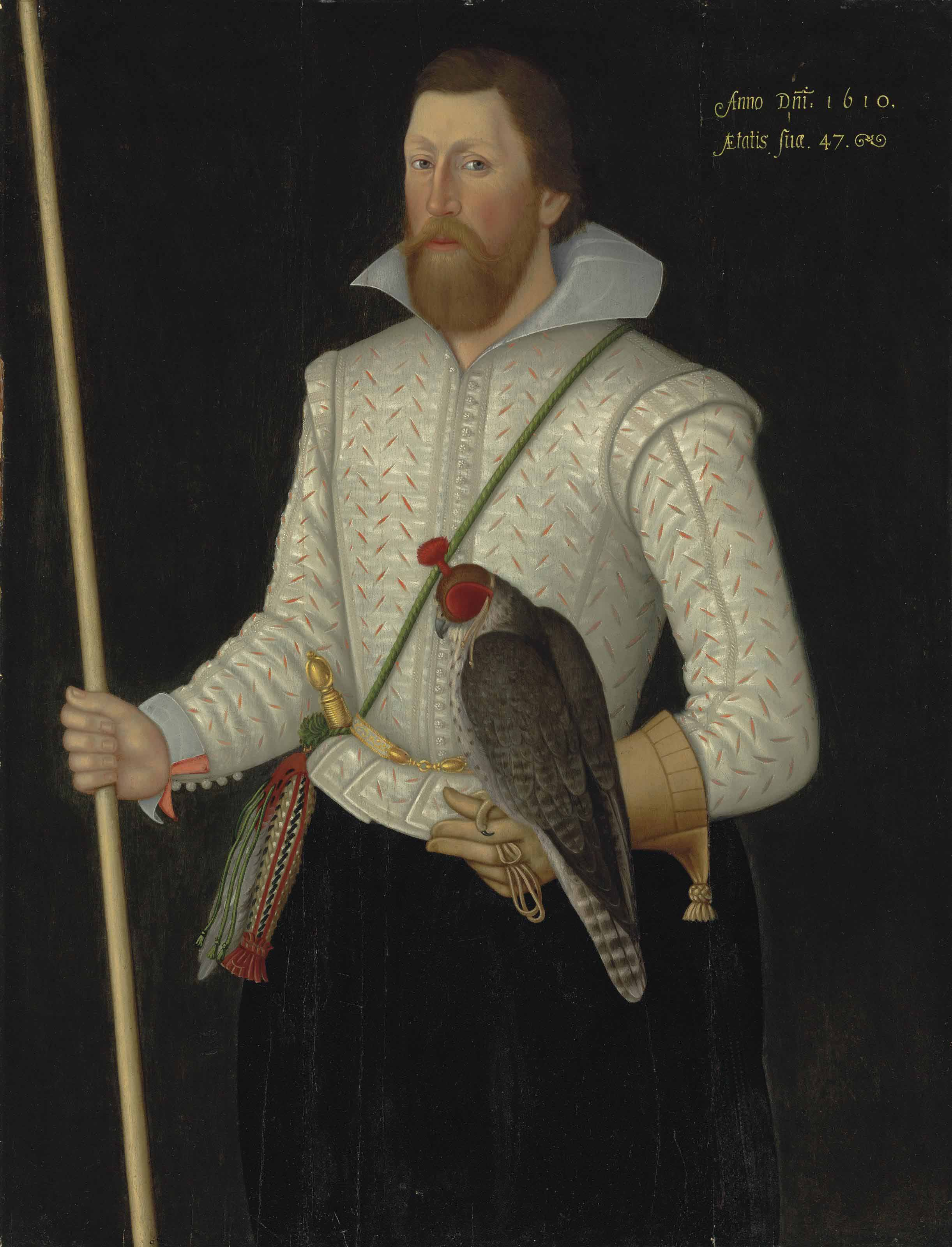 Portrait of Sir Thomas Monson, three-quarter-length, in a slashed white doublet, girdled with a sword, holding a falcon and his wand of office