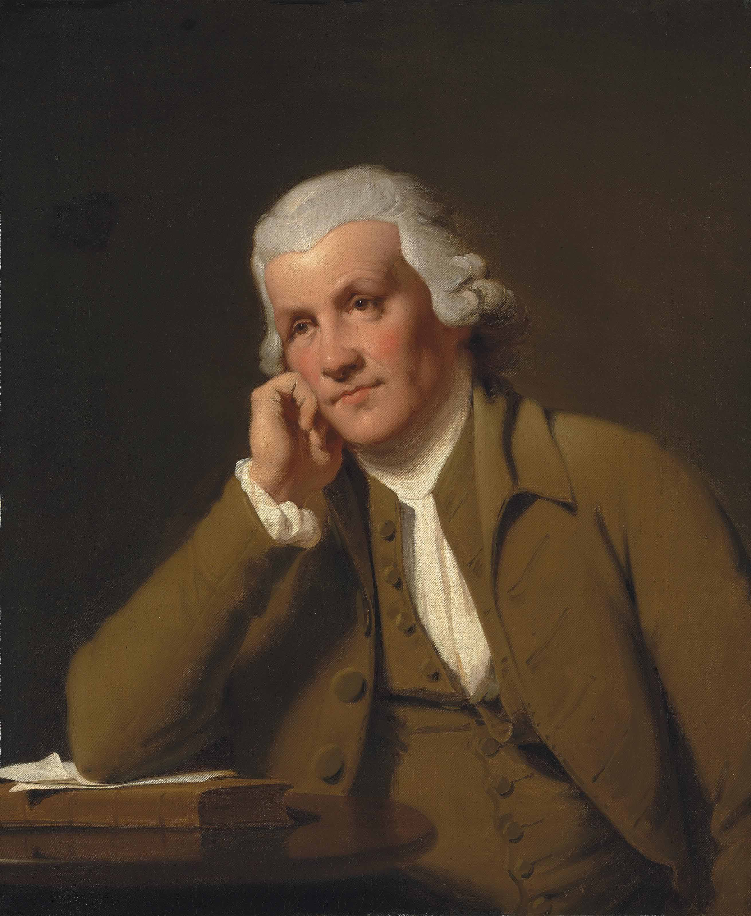 Portrait of Jedediah Strutt (1720-1797), half-length, in a brown waistcoat and jacket, leaning on a book