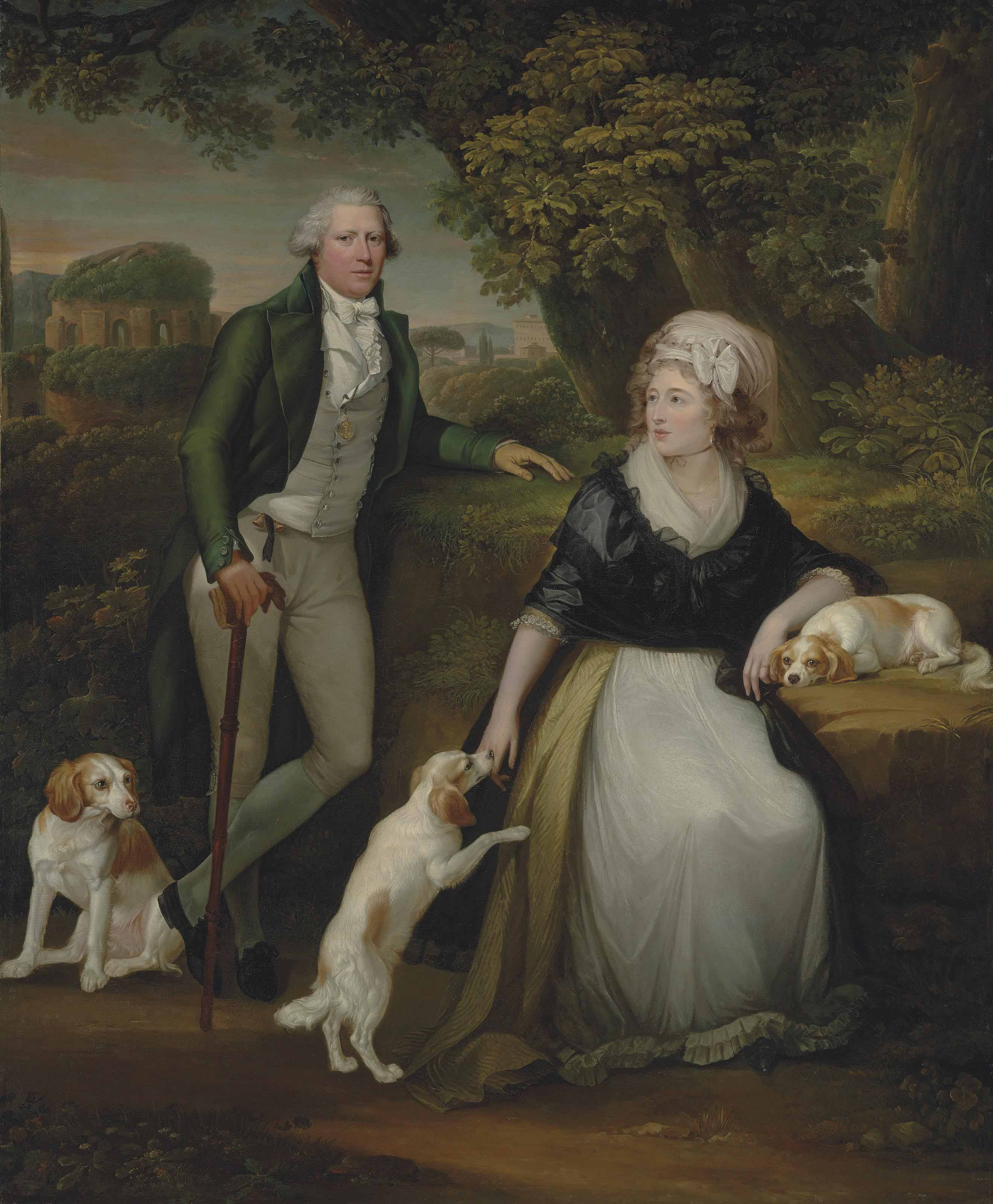 Double portrait of Sir Andrew Corbet Corbet, Bt., of Stoke on Trent (1752-1823), and his wife Hestor, full-length, with their spaniels 'Bow', 'Gig' and 'Monkey', with a view of the Temple of Minerva Medica, Rome, beyond