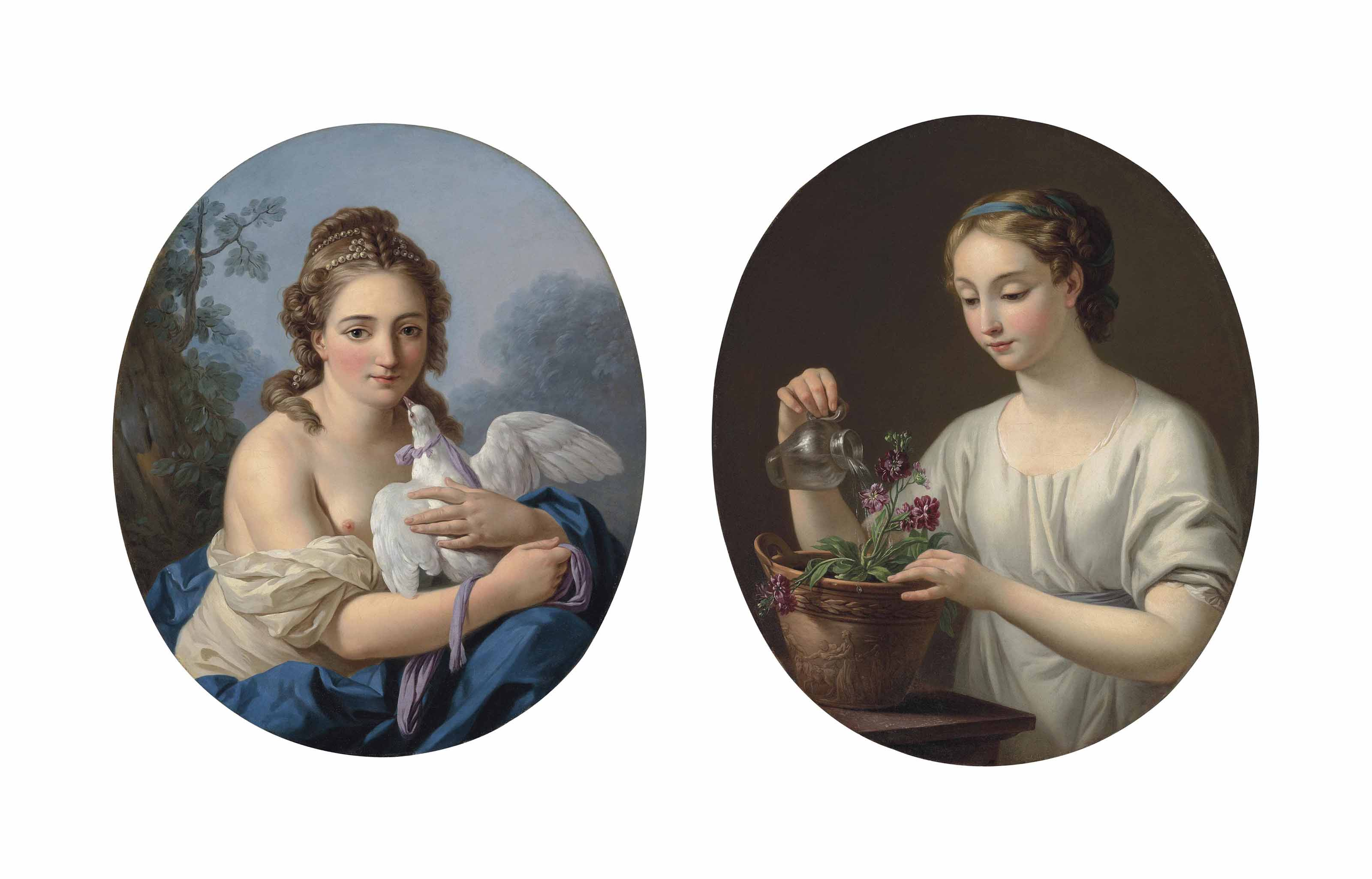 A young woman holding a dove ('La Douce captivité'); and A woman watering a pot of matthiola ('La Jeune athénienne')