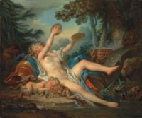 A wooded landscape with a bacchante playing the cymbals and a sleeping faun