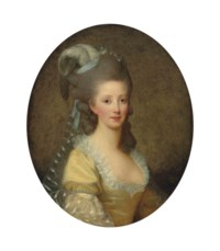 Portrait of a woman, half-length, in a yellow dress and white collar, with a plumed headdress