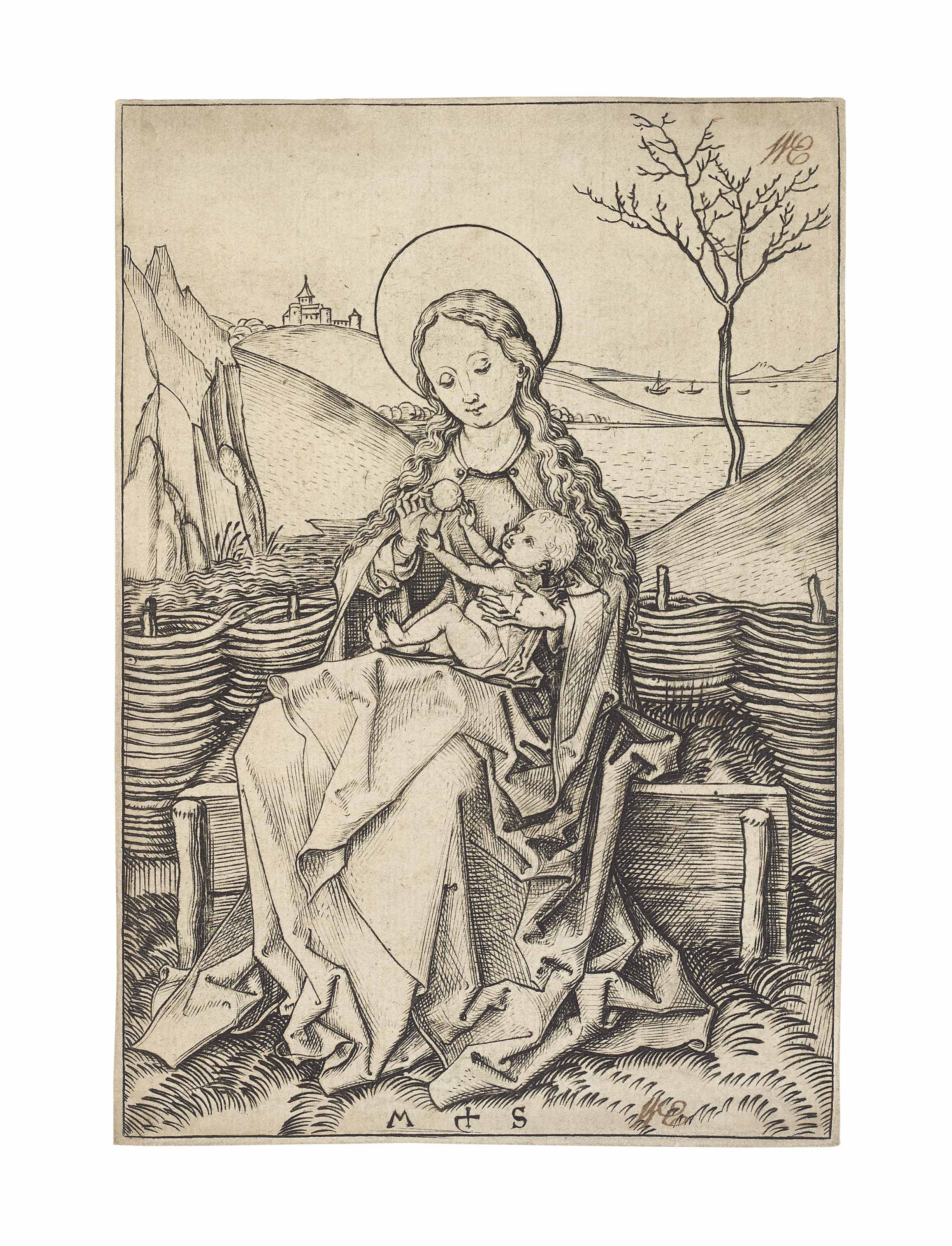 The Virgin and Child on a grassy Bench (B. 30; Lehrs, Hollstein 36)