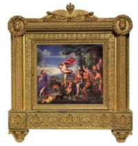 AN ENAMEL PLAQUE OF BACCHUS AND ARIADNE BY HENRY BONE, R.A. (BRITISH, 1755-1834) AFTER TIZIANO VECELLIO, CALLED TITIAN (ITALIAN, 1488/1489 - 1576)