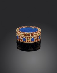 A SAXON ENAMELLED GOLD AND HARDSTONE SNUFF-BOX