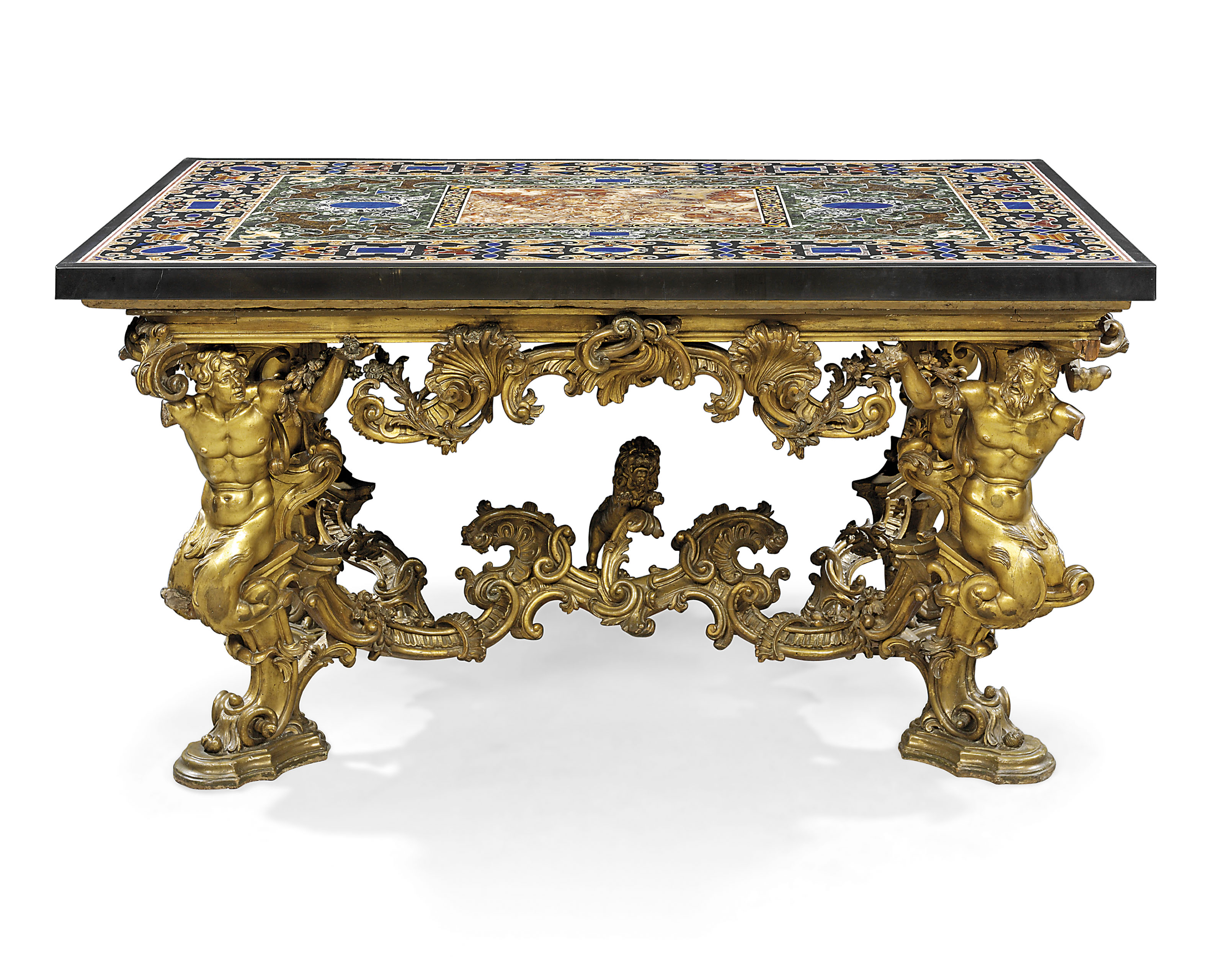 An Italian Pietra Dura And Specimen Marble And Giltwood Centre Table