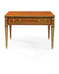 A GERMAN ORMOLU-MOUNTED AND BRASS-INLAID MAHOGANY ARCHITECT'S TABLE
