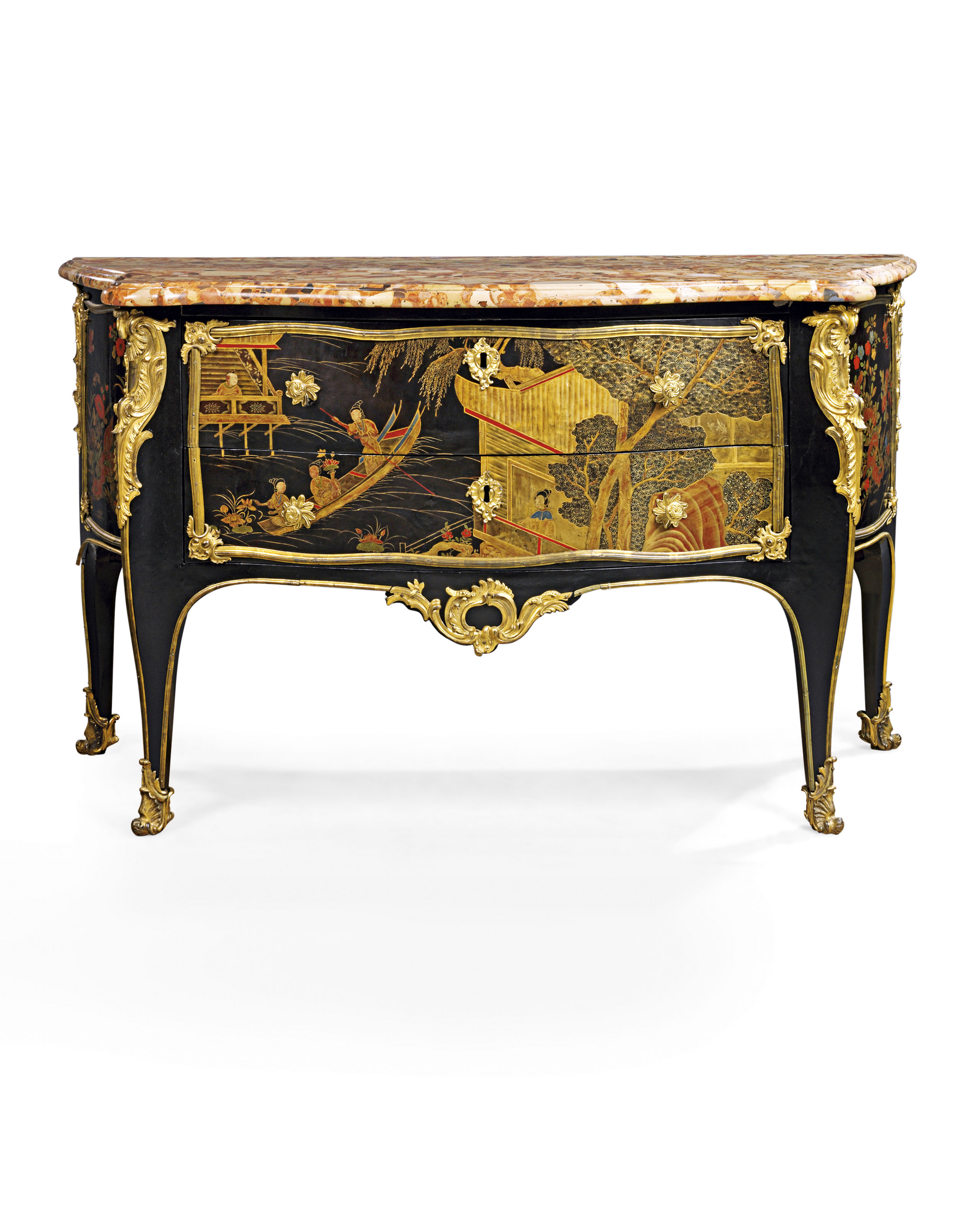 A Louis Xv Ormolu Mounted Chinese Lacquer And Ebonised Commode