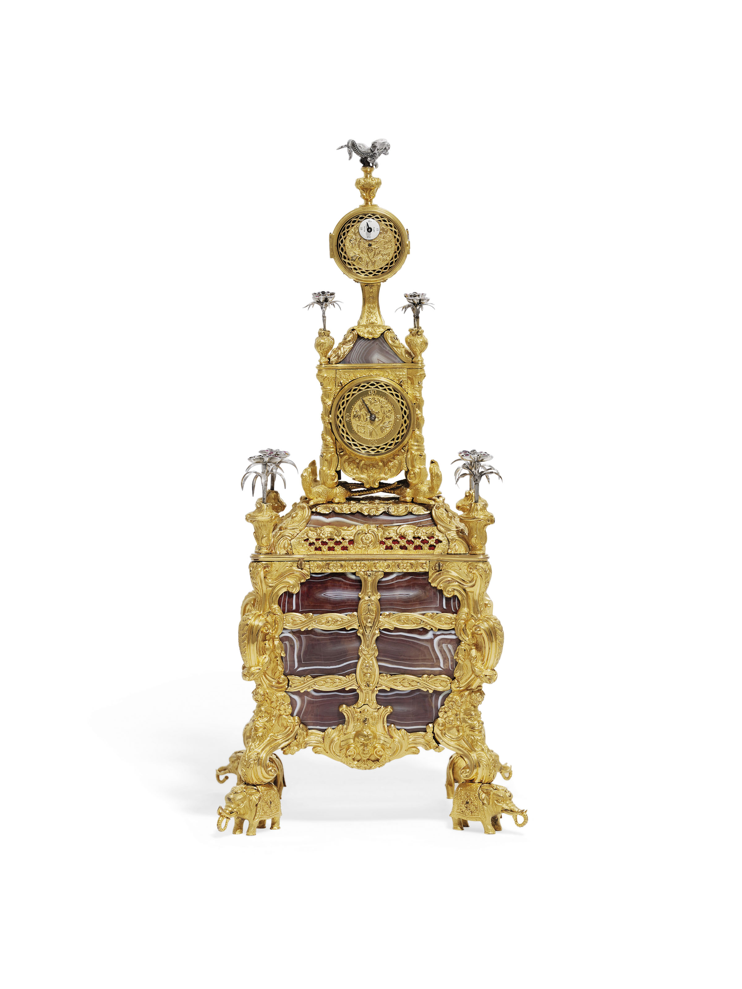 A GEORGE III ORMOLU, SILVER AND AGATE MUSICAL TIMEPIECE TABLE CLOCK
