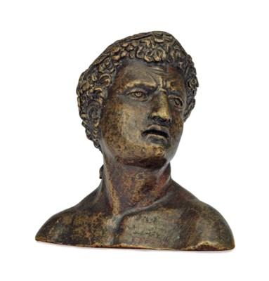 A BRONZE HEAD OF BACCHUS