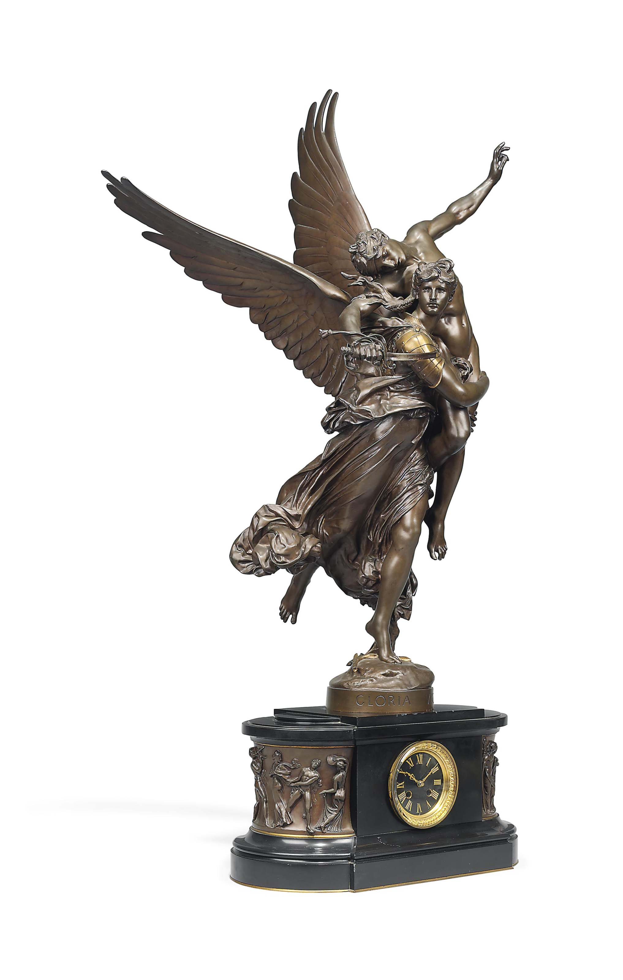 A FRENCH GILT AND PATINATED BRONZE GROUP ENTITLED 'GLORIA VICTIS', ON BLACK MARBLE AND BRONZE CLOCK BASE