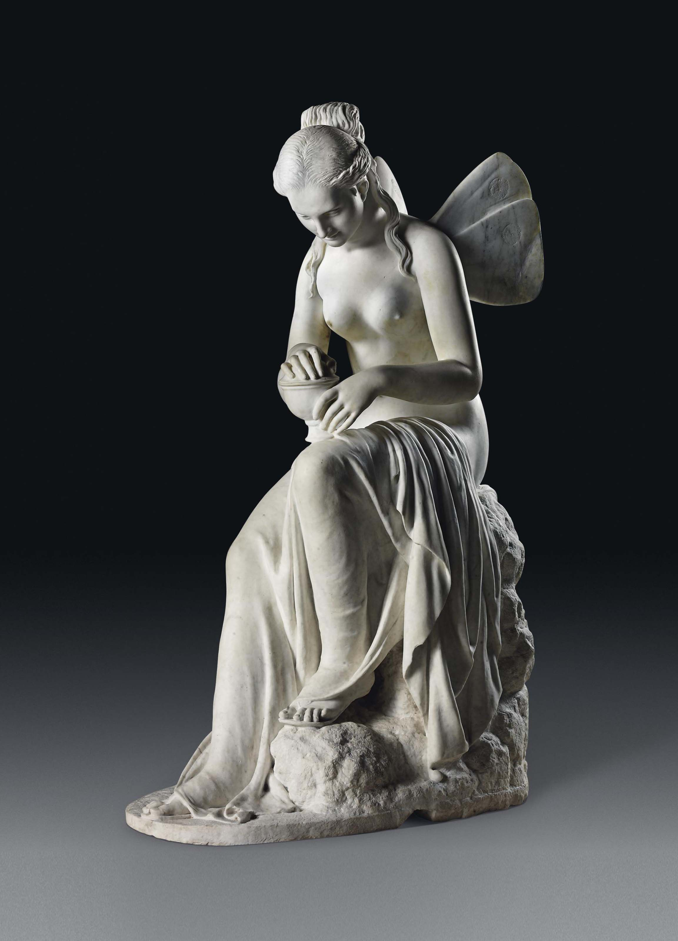 Asia Carrera Marble a lifesize italian carrera marble figure of psyche, on