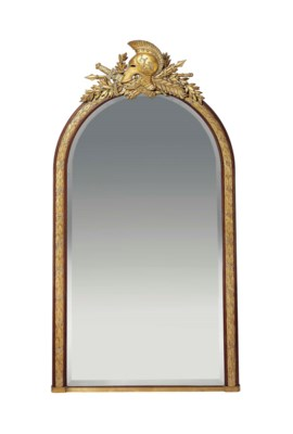 A FRENCH PARCEL-GILT AND MAHOG