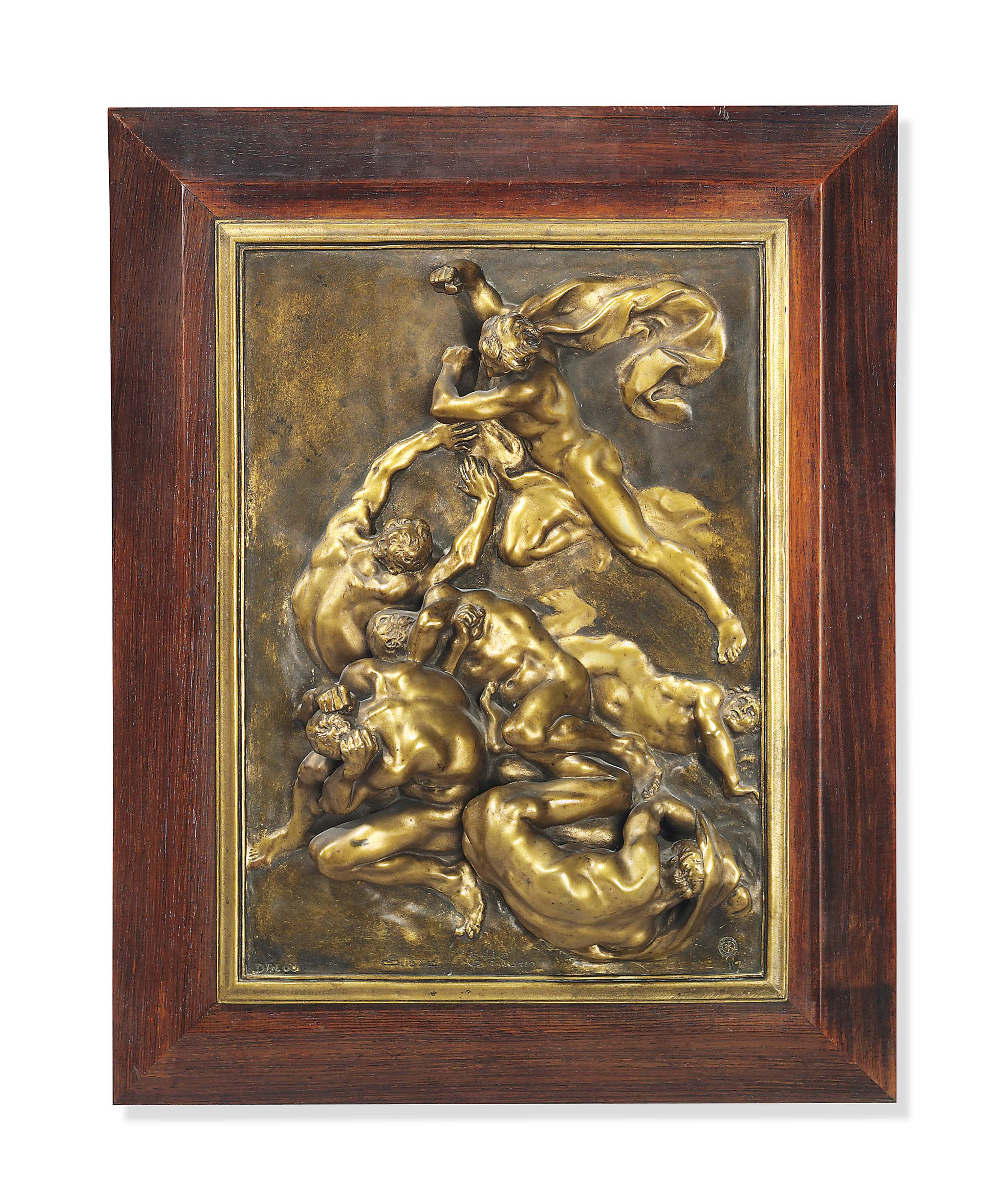A FRENCH GILT BRONZE RELIEF PL