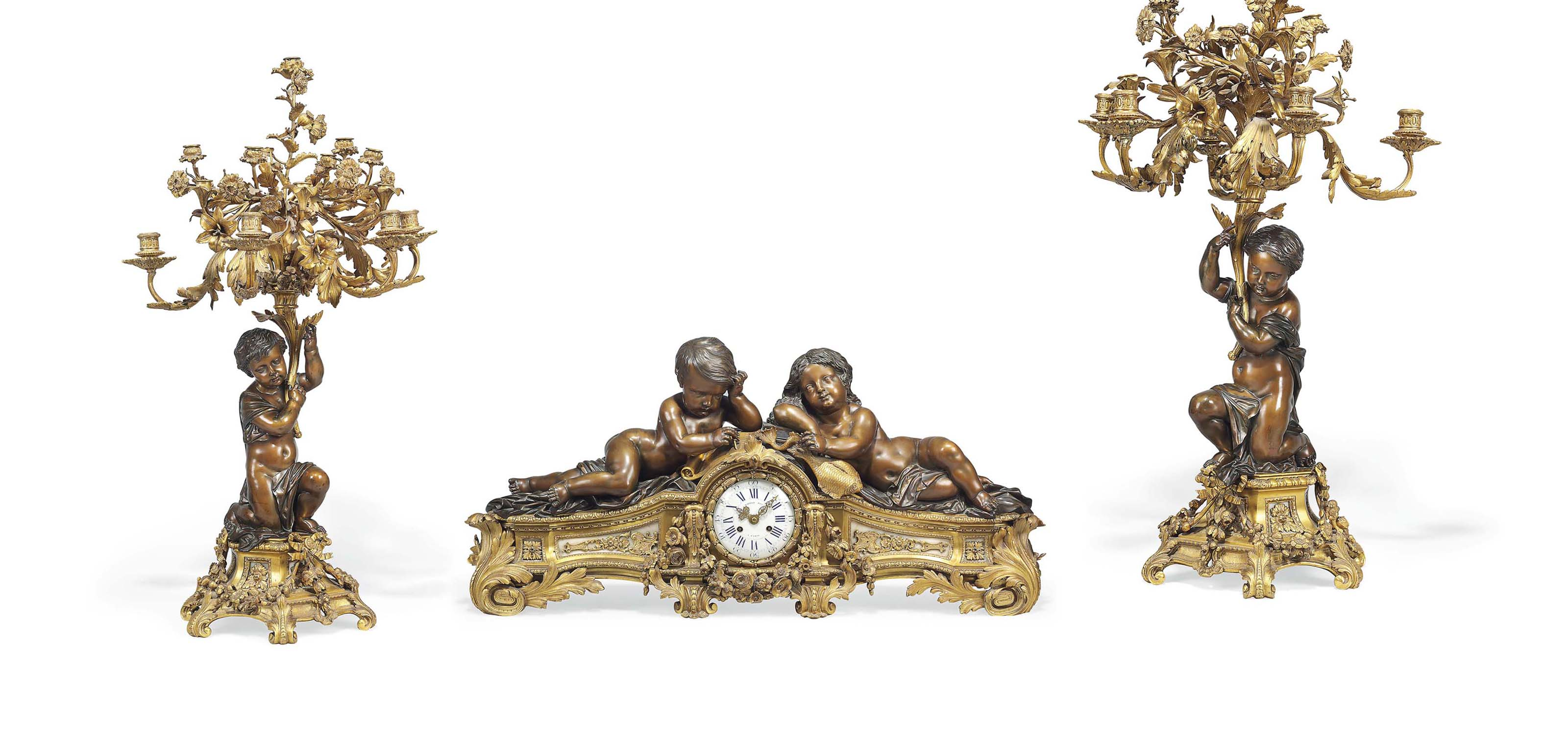 A LARGE FRENCH ORMOLU, PATINAT