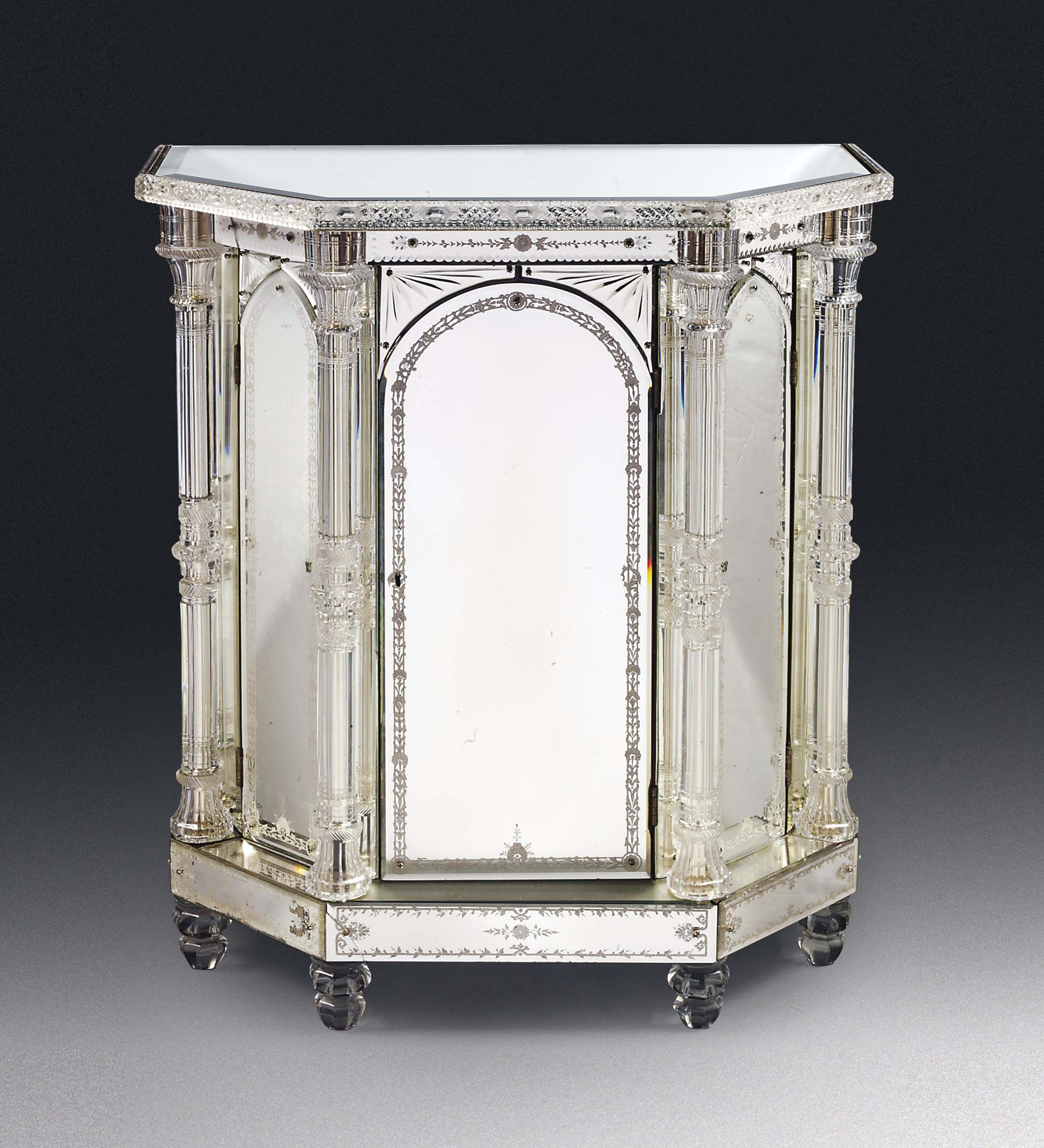 AN ENGLISH CUT-CRYSTAL AND ETCHED MIRROR GLASS SIDE CABINET