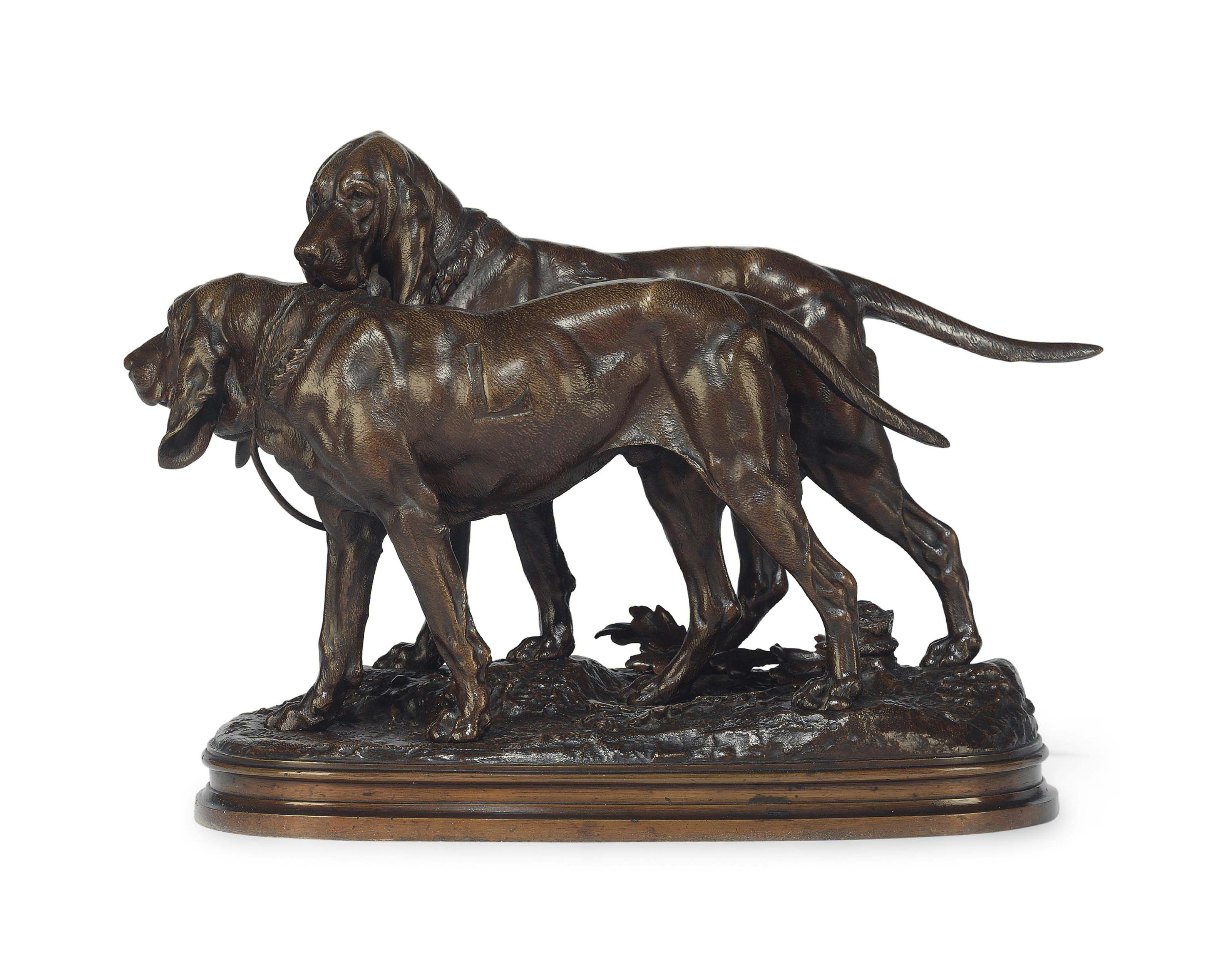 A FRENCH PATINATED BRONZE GROUP OF TWO HOUNDS, ENTITLED 'DEUX CHIENS DE CHASSE ATTACHES'