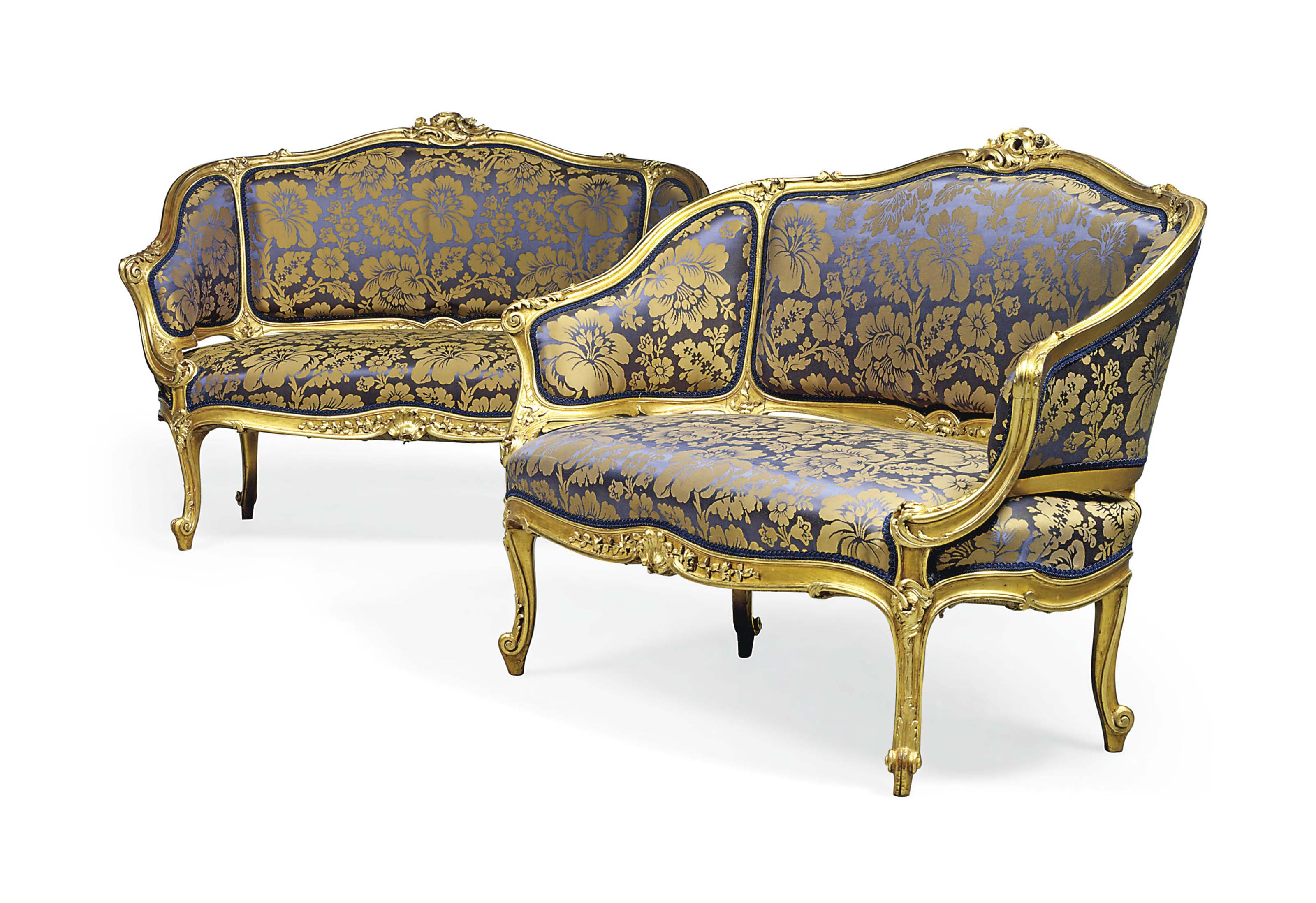 A PAIR OF FRENCH GILTWOOD CANA