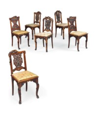 A SET OF SIX FRENCH JAPONISME MAHOGANY SIDE CHAIRS
