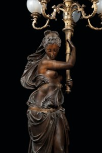 A LIFESIZE FRENCH ORMOLU, GILT AND PATINATED BRONZE FIGURAL TORCHERE OF DIANA, ON MARBLE PEDESTAL