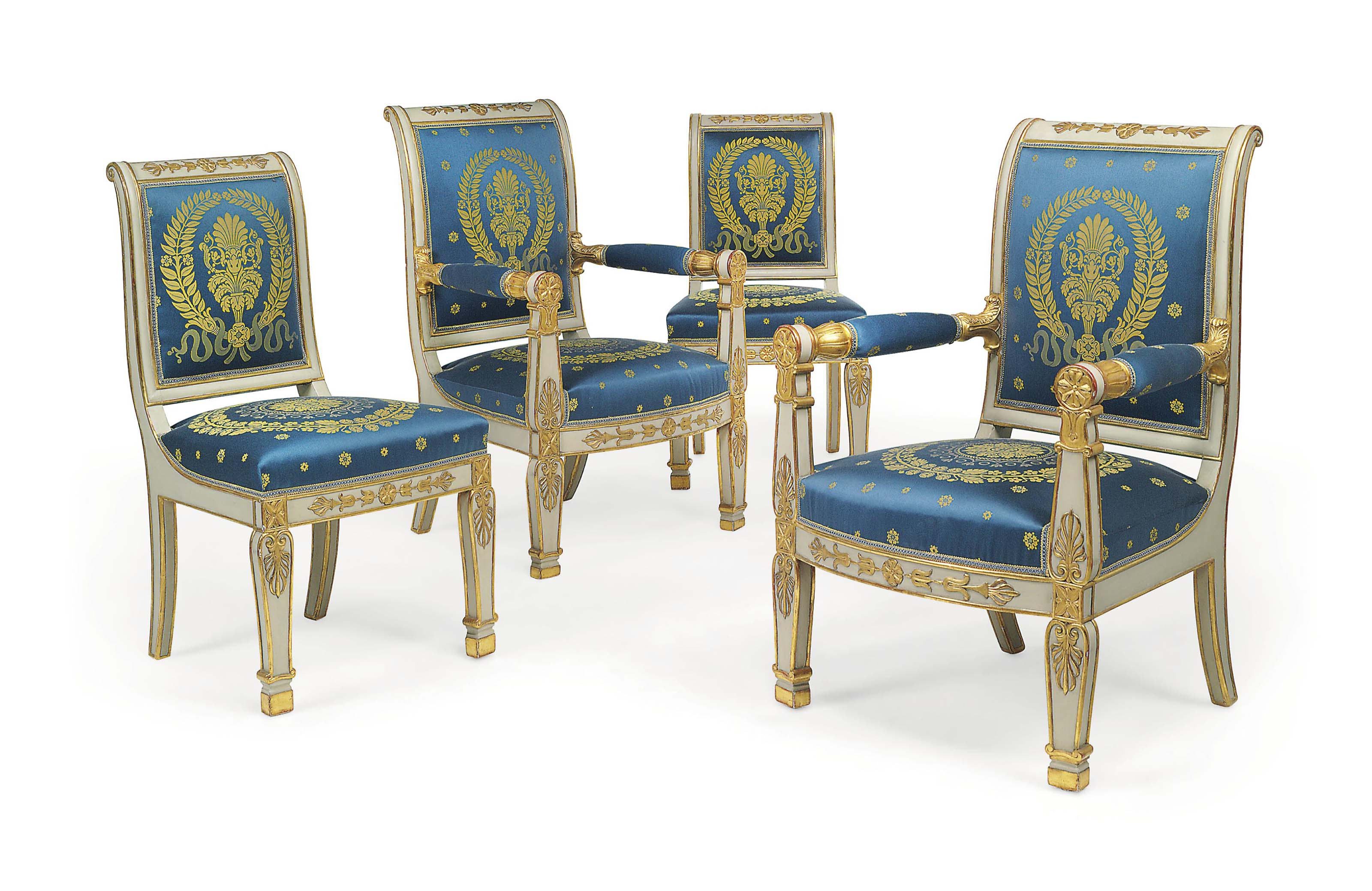 A PAIR OF LOUIS PHILIPPE CREAM-PAINTED AND PARCEL-GILT FAUTEUILS AND PAIR OF CHAISES EN SUITE