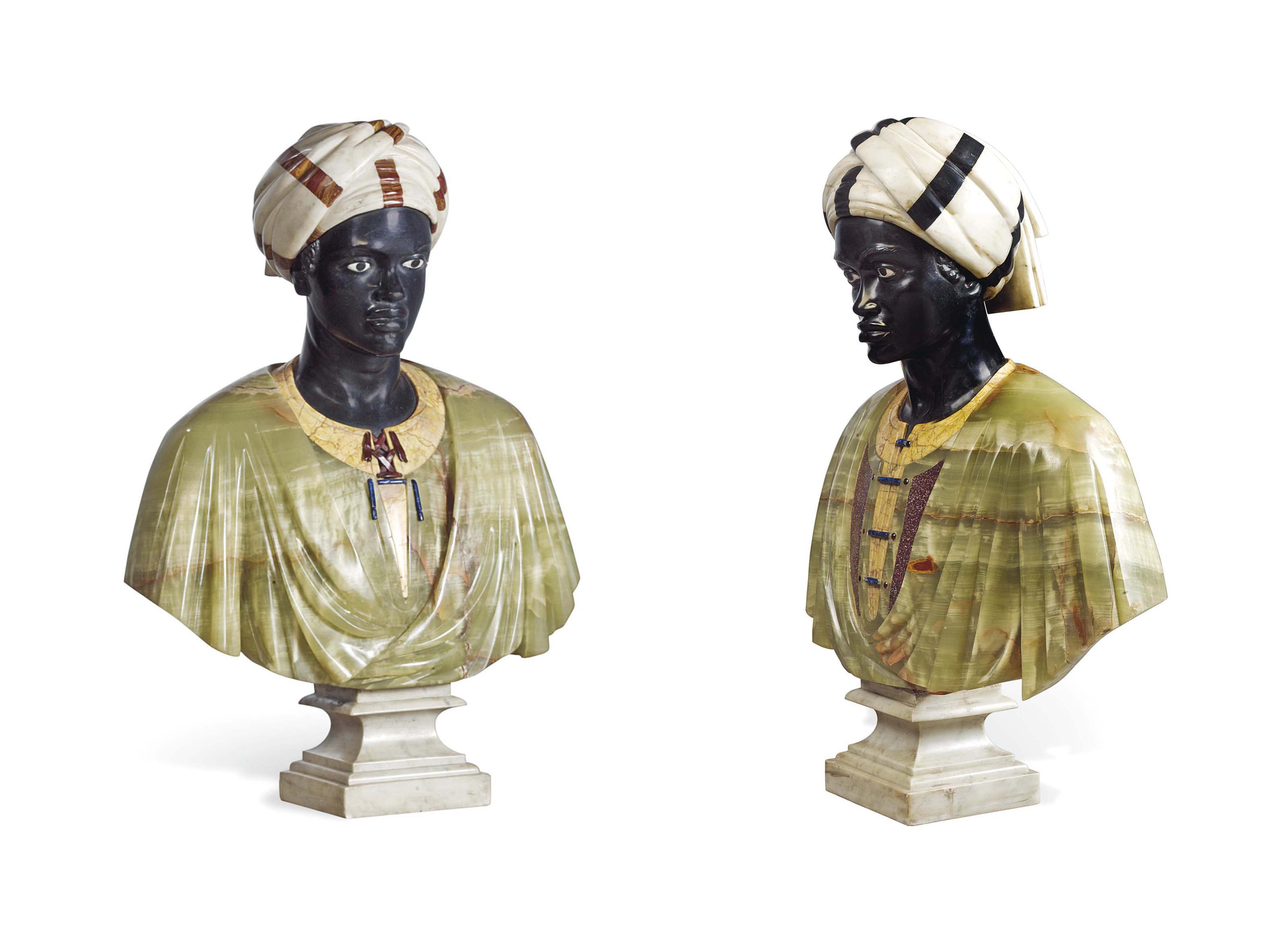 A PAIR OF POLYCHROME MARBLE AN