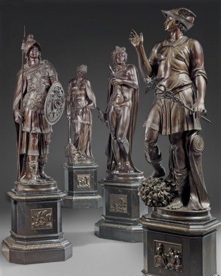 A SET OF FOUR ITALIAN BRONZE-P