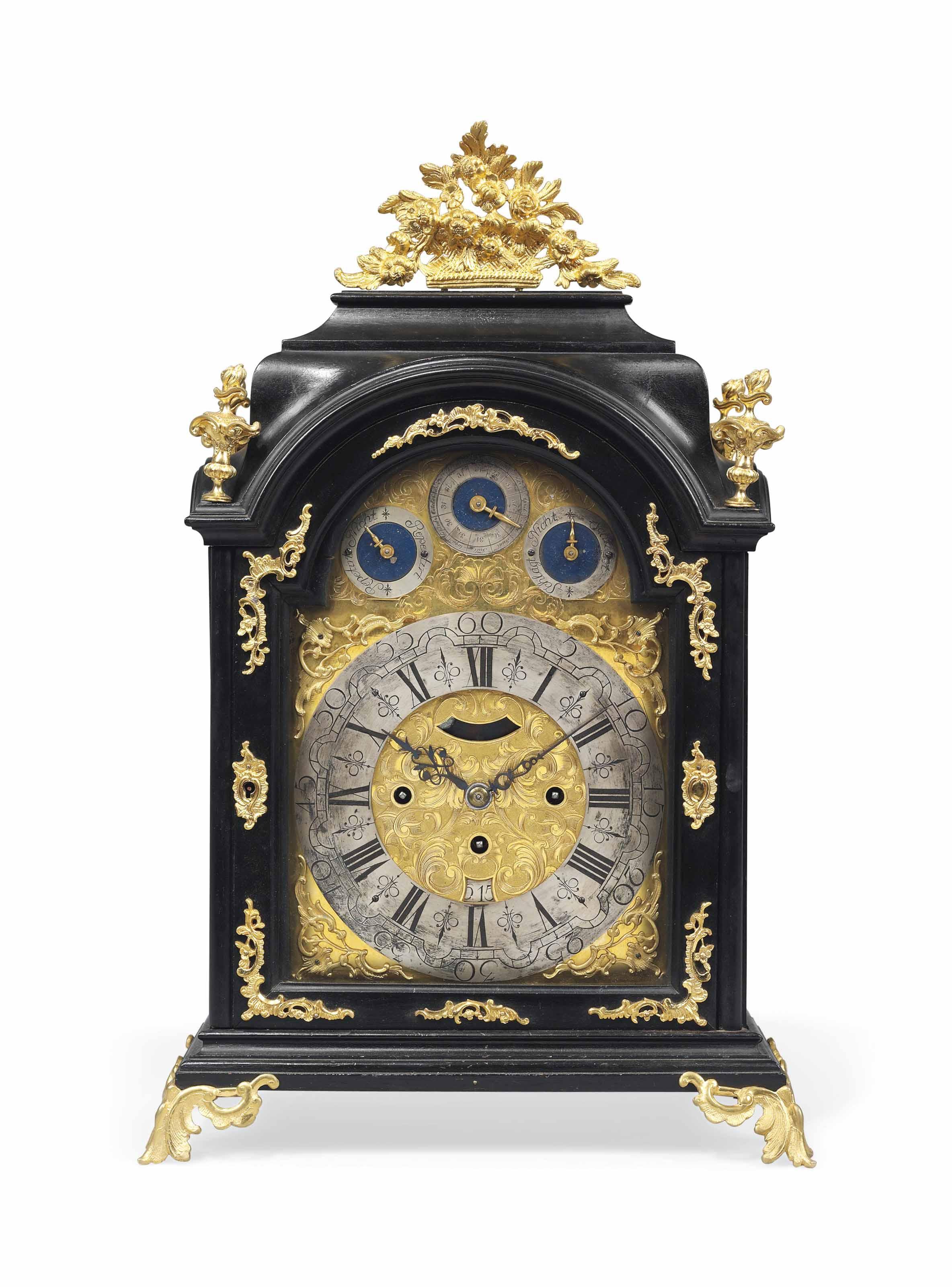 An austrian ormolu mounted ebonised grande sonnerie table clock aegidius wathele prague mid for Grande sonnerie