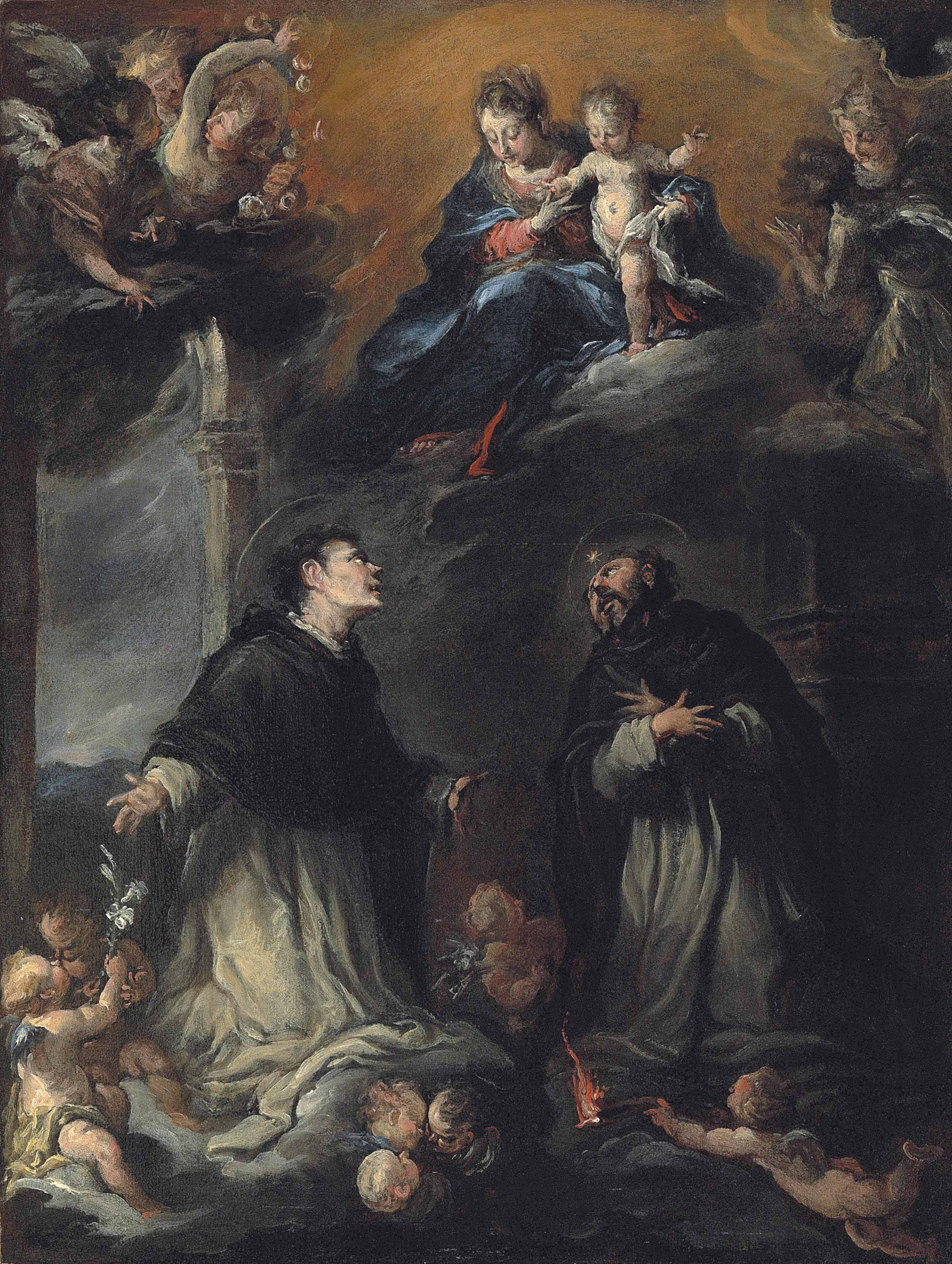 The Madonna and Child appearing to Saints Nicholas of Tolentino and Thomas Aquinas