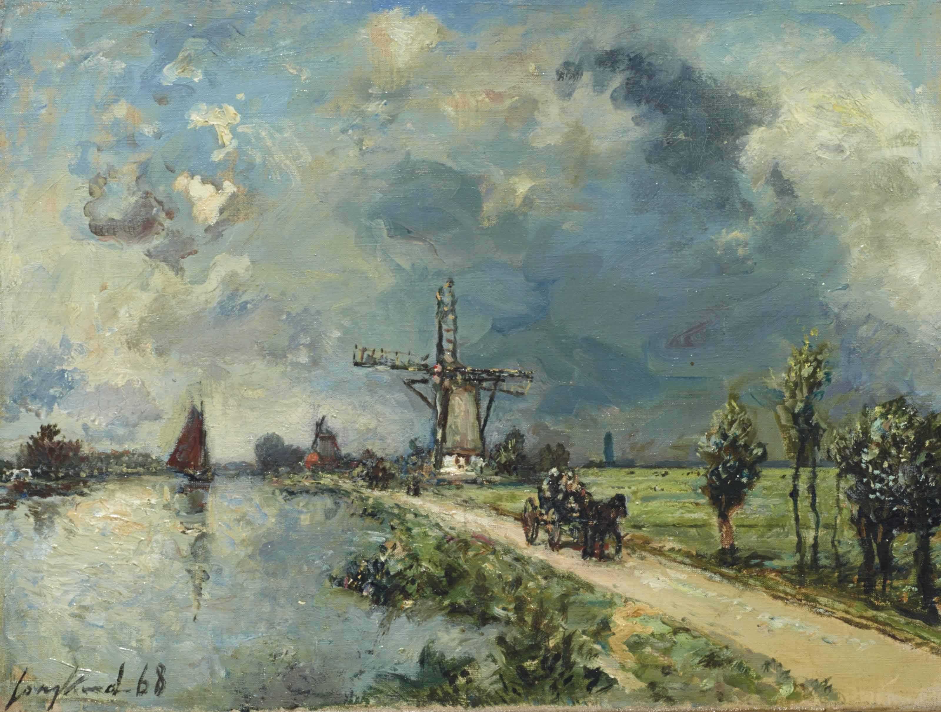 La route près de Rotterdam, effet de pluie