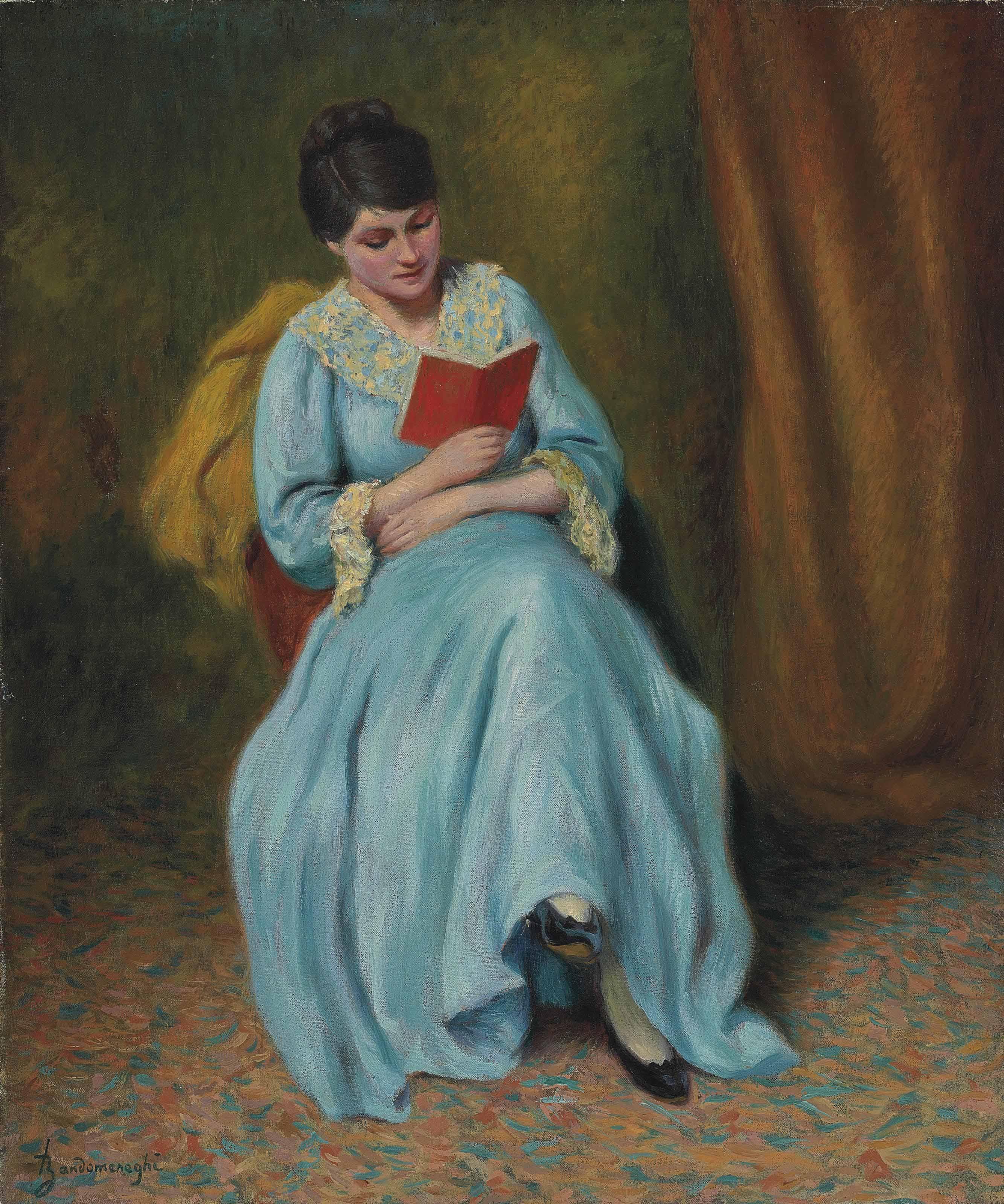 Femme en bleu qui lit