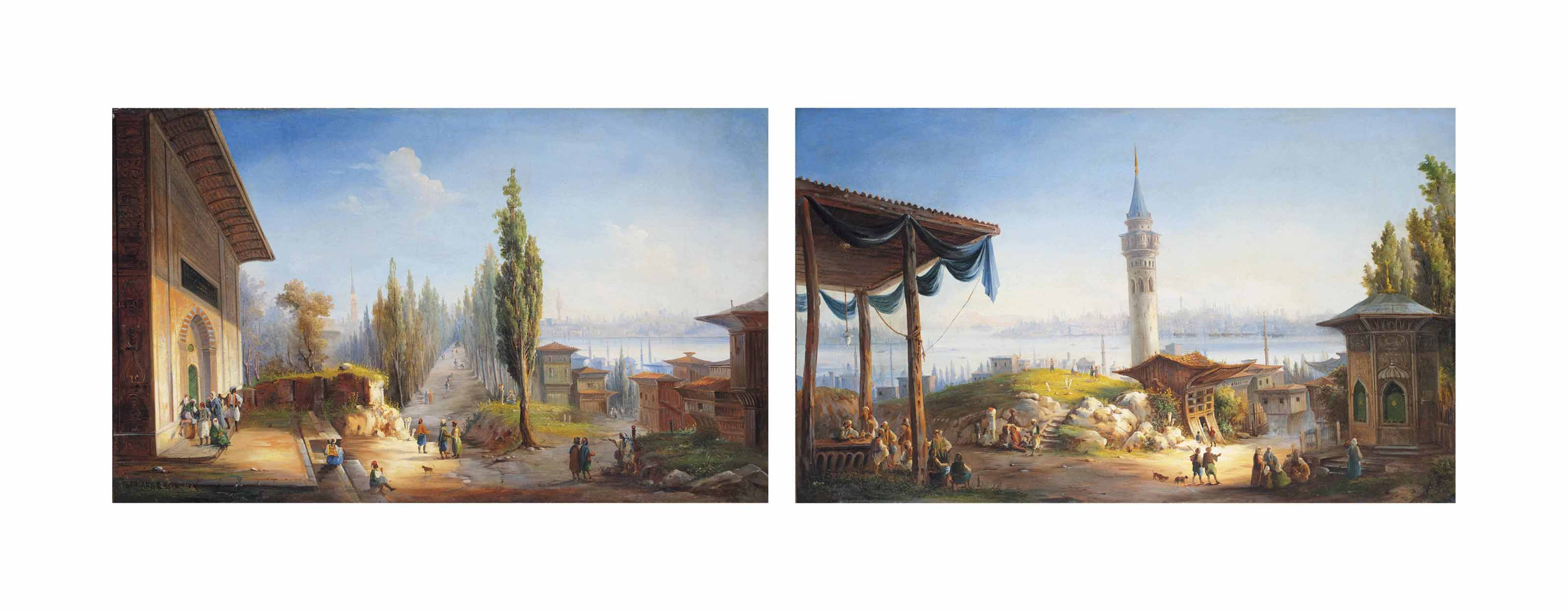 A view of Constantinople from Scutari over the Bosphorus with figures by a fountain; A view of Constantinople over the Galata Tower towards the Golden Horn.
