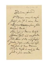 BRAHMS, Johannes (1833-1897). Autograph letter signed ('Dein / Johannes') to an unidentified recipient ('Theurer Freund'), n.p., n.d. [dated in pencil 'Nach 7. Mai 1896'], 2½ pages, 8vo, bifolium.