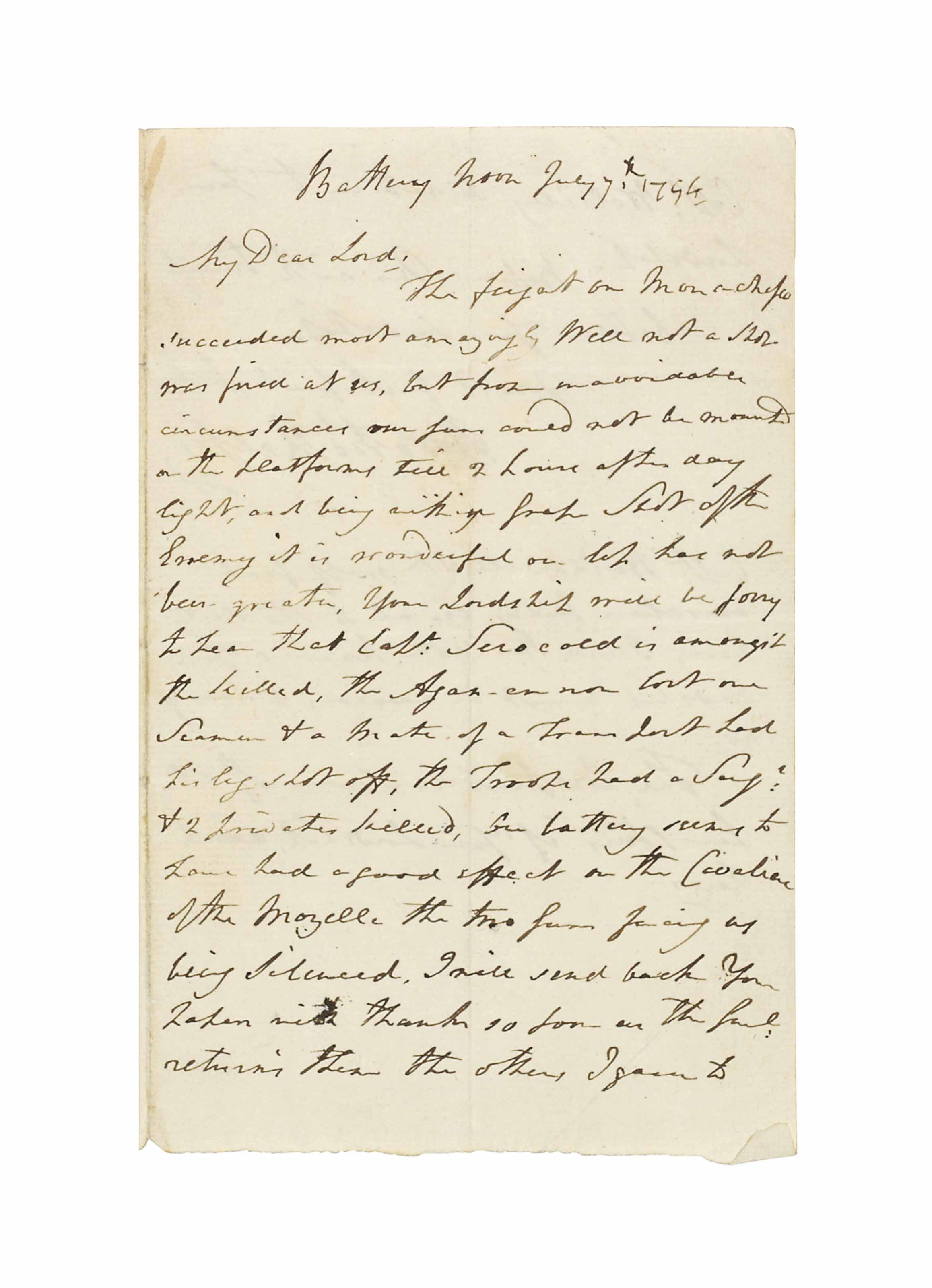 NELSON, Horatio, Viscount (1758-1805). Autograph letter signed ('Horatio Nelson'), with his right hand, to Admiral Samuel Hood, 1st Viscount Hood, commander of the Mediterranean fleet, 'Battery', noon, 7 July 1794, 2 pages, 8vo, bifolium, docket (small tear along base of central fold, remnant of seal). Provenance: Christie's, 20 June 1990, lot 199.