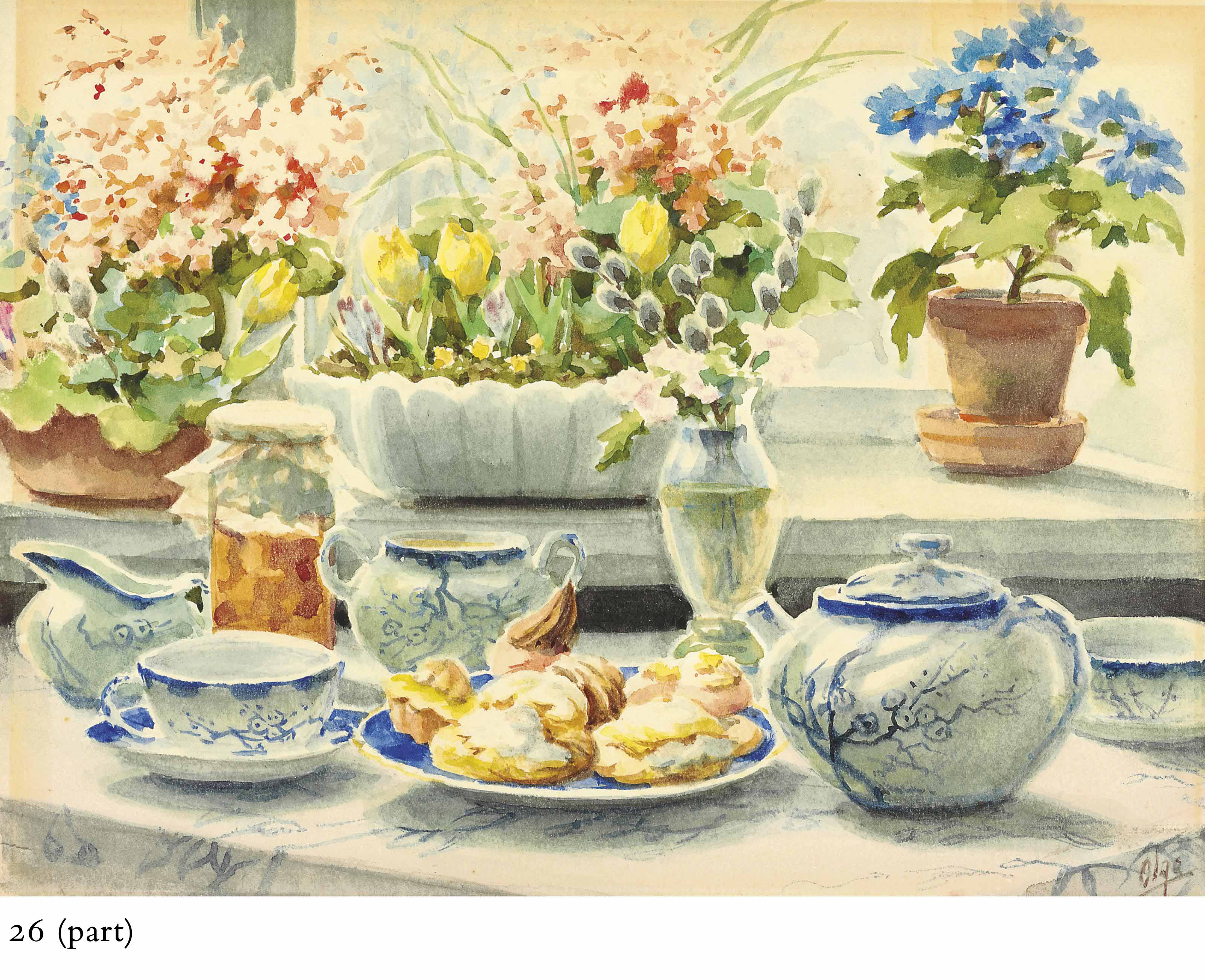 Tea set with tulips and violets