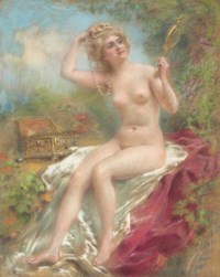 Seated nude looking in a mirror