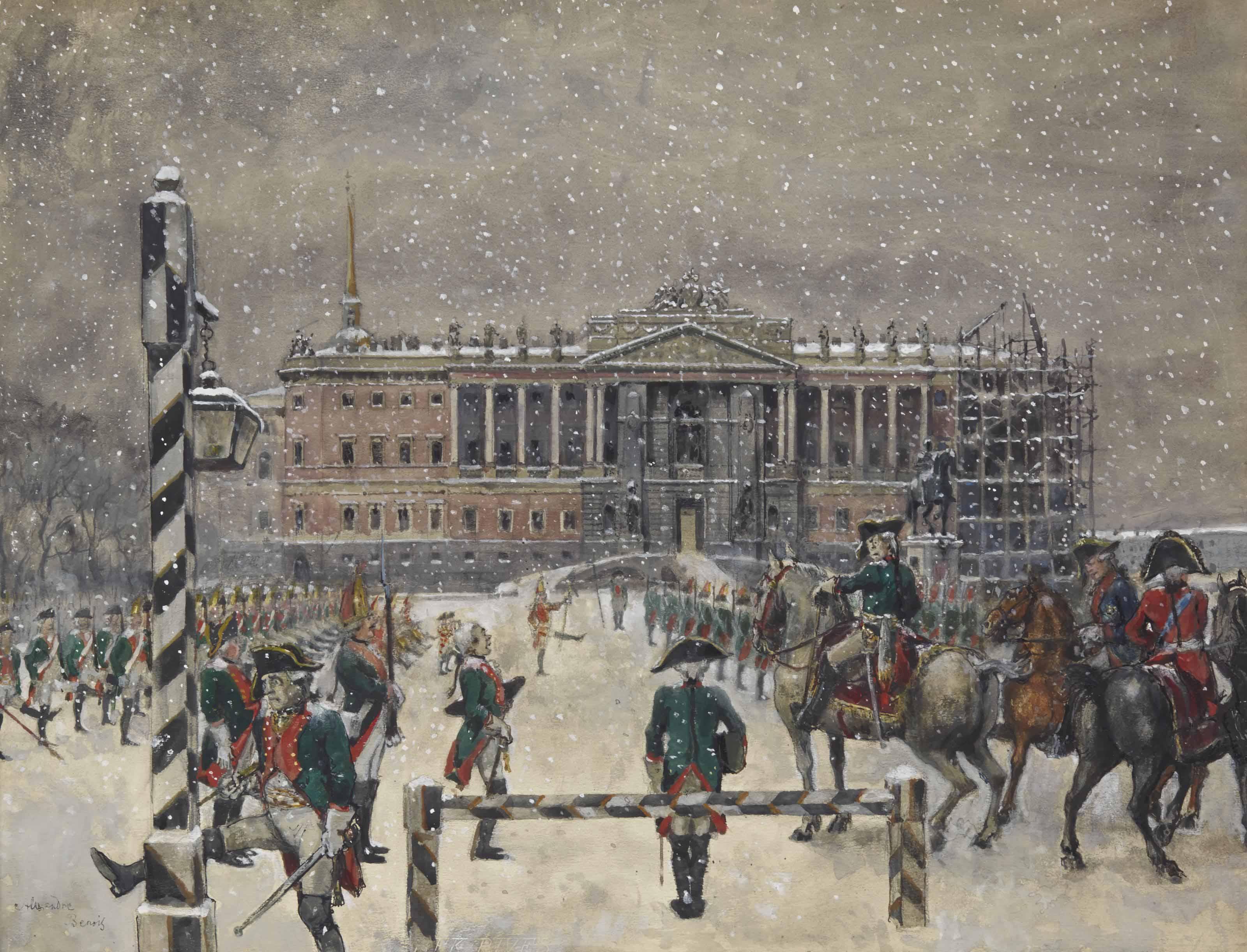 La revue de la Garde passée par l'Empereur Paul Ier devant le Château Michel (6 janvier 1801)