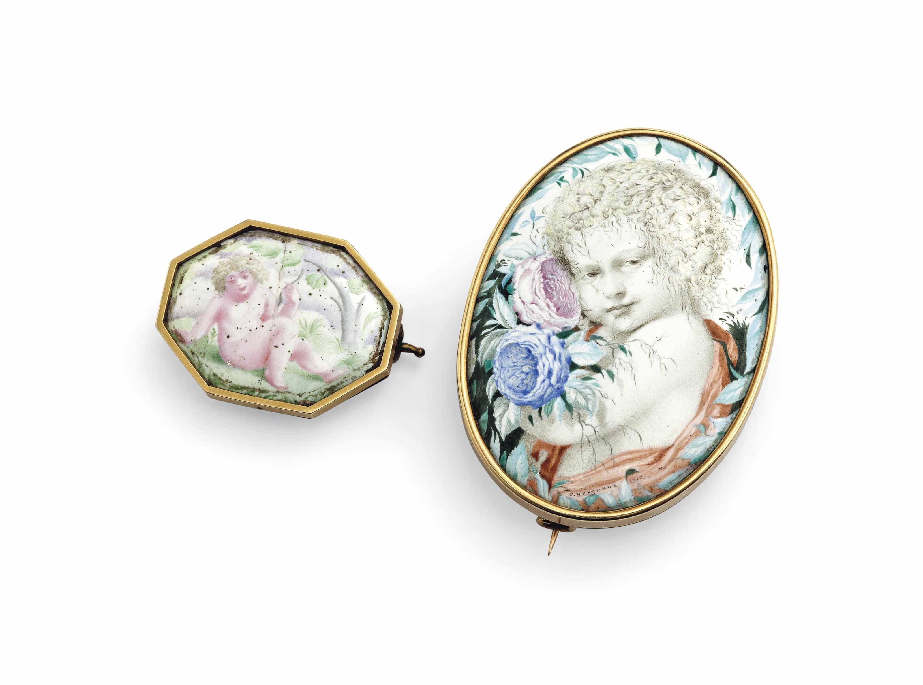 A Putto with a bouquet of peonies; and A reclining Putto