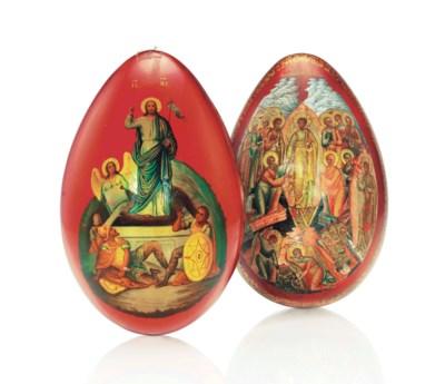 TWO PAPIER-MACHE EASTER EGGS