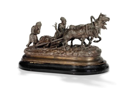 A BRONZE GROUP OF TWO PEASANTS