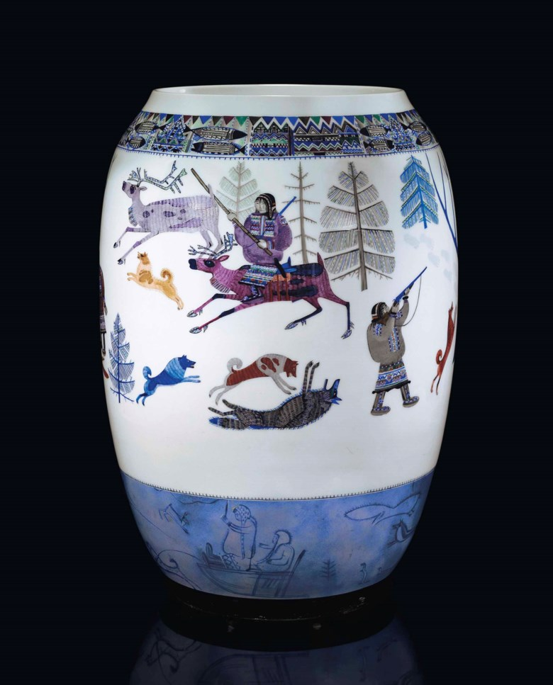 A rare large Soviet porcelain vase, by the State Porcelain Factory, St Petersburg, 1930. 18  in (45.8  cm) high. Sold for £422,500 on 25 November 2013 at Christie's in London